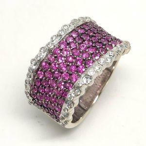 LeVian 18K White Gold Rubies Diamonds Ring Sz 7